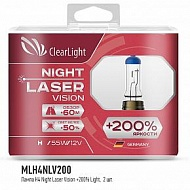 Лампы H4 12V 60/55W Clearlight Night Laser Vision+200%