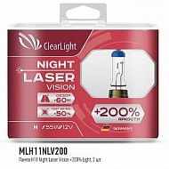 Лампы H11 12V 55W Clearlight Night Laser Vision+200%