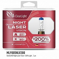 Лампы HB3 12V 65W Clearlight Night Laser Vision+200%
